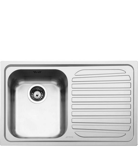 Smeg Lavello ad una vasca con gocciolatoio a destra SP791D-2 finitura acciaio inox spazzolato da 79 cm