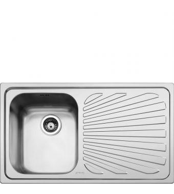 Smeg Lavello ad una vasca con gocciolatoio a destra SP861D finitura acciaio inox spazzolato da 86 cm