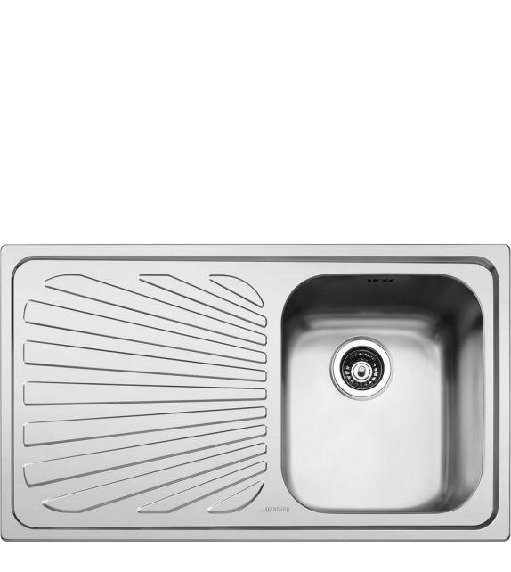 Smeg Lavello ad una vasca con gocciolatoio a sinistra SP861S finitura acciaio inox spazzolato da 86 cm