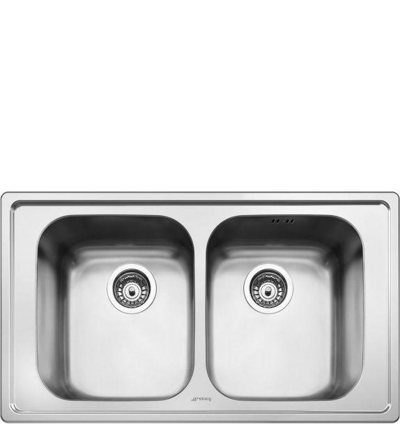 Smeg Lavello a due vasche SP862 finitura acciaio inox spazzolato da 86 cm