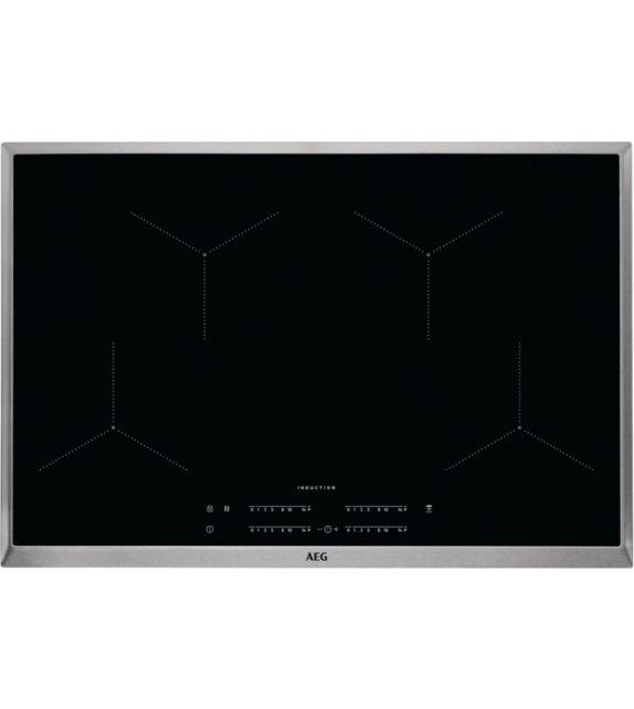 AEG Piano cottura a induzione IKB 84443 XB finitura vetroceramica nero con cornice inox da 80 cm